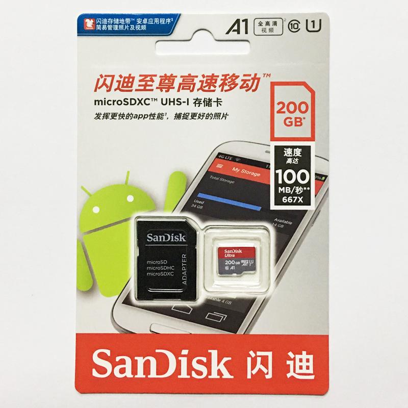 سانديسك C10 رصد مسجل SD256G عالية السرعة A1 الهاتف المحمول TF بطاقة 16G 32G 64G 128G بطاقة الذاكرة