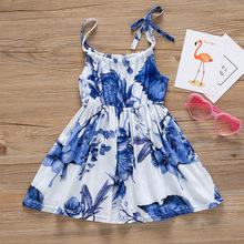 亚马逊热销 ins爆款2018夏季童裙新款女童连衣裙-蓝色花