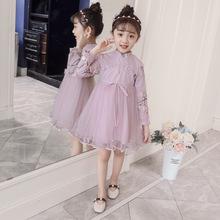 童装女童连衣裙2018秋装新款韩版儿童长袖立体花朵网纱公主裙潮范