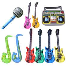 厂家批发儿童充气乐器玩具 PVC充气吉他 儿童舞台道具麦克风