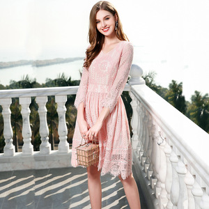 2018 new spring embroidery thin ladies temperament seven sleeve skirt lace dress female 8211