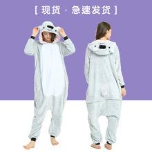 冬季新款法兰绒如厕版卡通动物连体睡衣灰考拉爱情公寓同款家居服