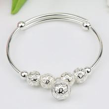 新款 九转运珠手环镯 白铜镀银转运珠手镯  玲珑球首饰 饰品批发