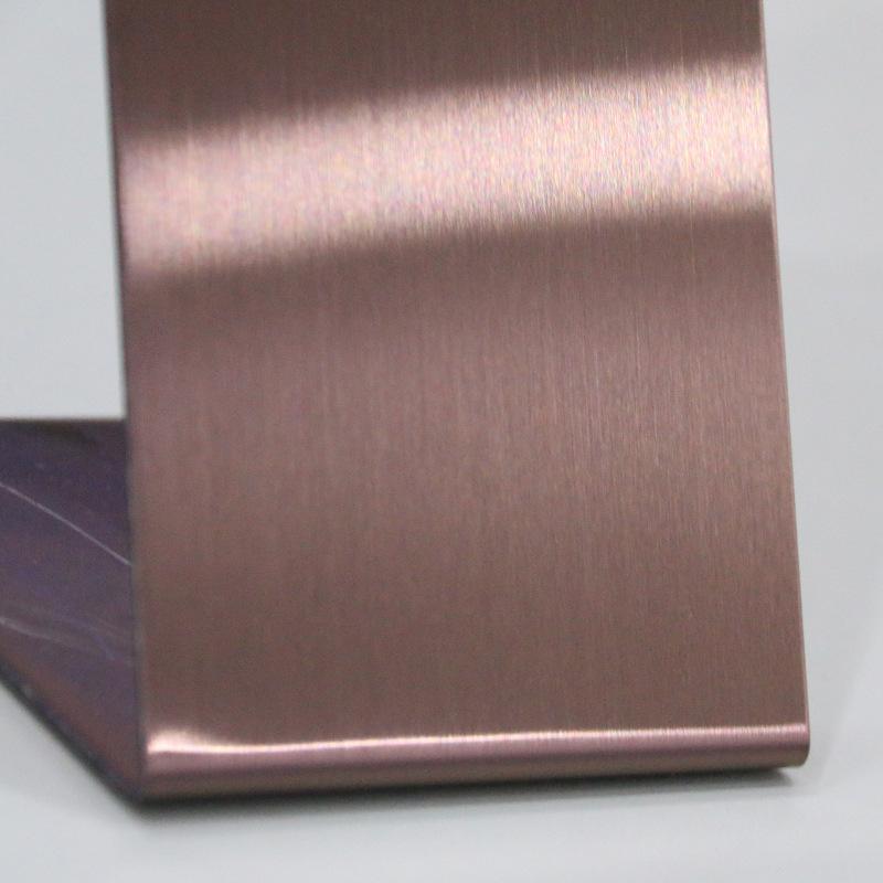 304发纹电镀咖啡金不锈钢板材价格 可定制咖啡金 咖啡红 深咖啡钢