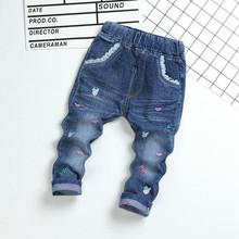 批发供应韩版2017春款儿童牛仔裤女款中小童贴皮儿童牛仔裤