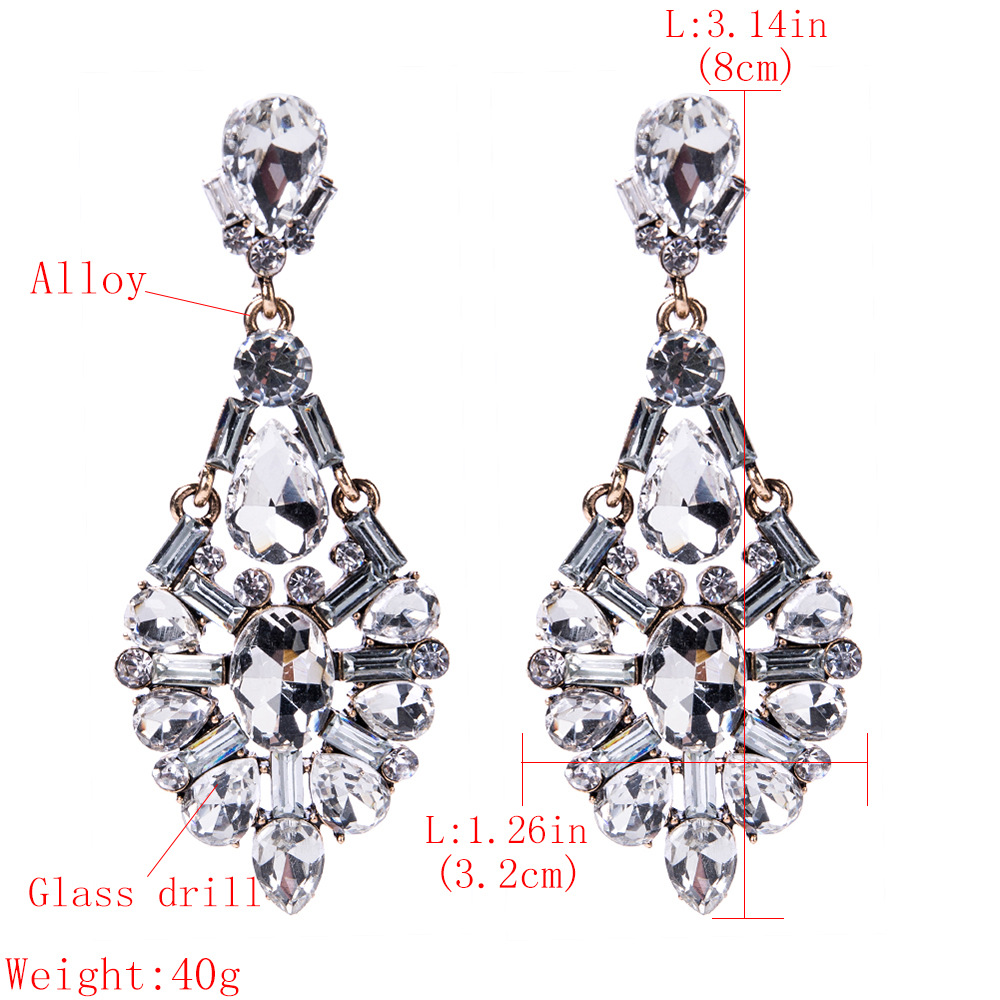 Fashion Alloy Diamond earring Geometric (white)NHJE1148-white