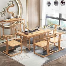 新中式实木茶桌椅组合?#26700;?#26408;茶台简约禅意实木茶几泡茶桌免漆环保