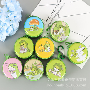 Frog coin purse mini earphone storage round wallet with carabiner tinplate coin purse direct sales