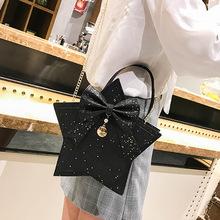 链条斜挎包女2019新款韩版PU五角星斜挎包个性时尚亮片单肩包批发
