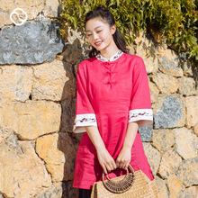 预售18春季原创新款民族风红色中长款上衣中国风复古文艺春装女
