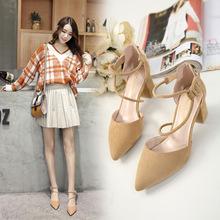 Giày cao gót nữ nhỏ, đế nhọn, dày, có khóa từ với giày đơn nữ rỗng với giày nữ mùa xuân 2019 của Hàn Quốc Giày cao gót
