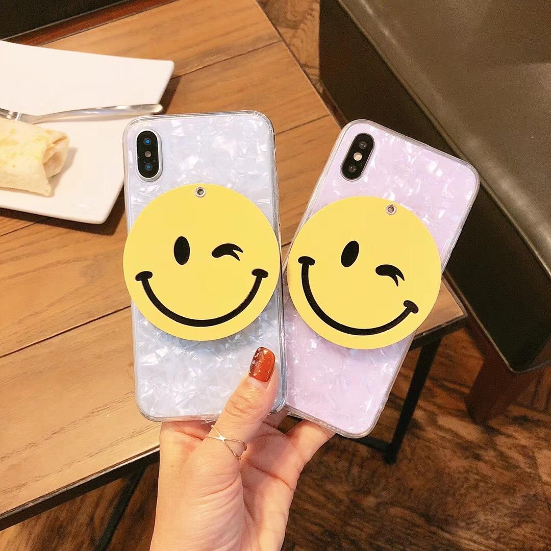 Fashion creative cartoon smiley face mirror iPhoneXR 8plus shell pattern R11 drop soft sleeve X20 apple 6S