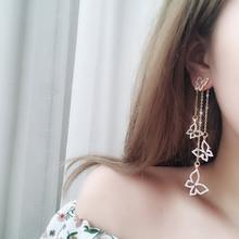925银针银针蝴蝶镶钻不对称耳环女超仙长款气质网红耳钉耳坠耳饰