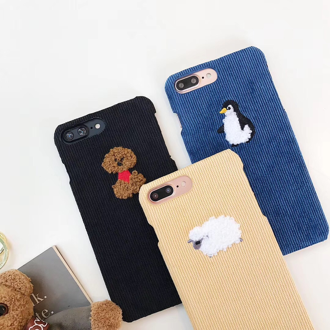 Net red with corduroy small animal phone case for iPhoneX/8/7plus Apple 6s case