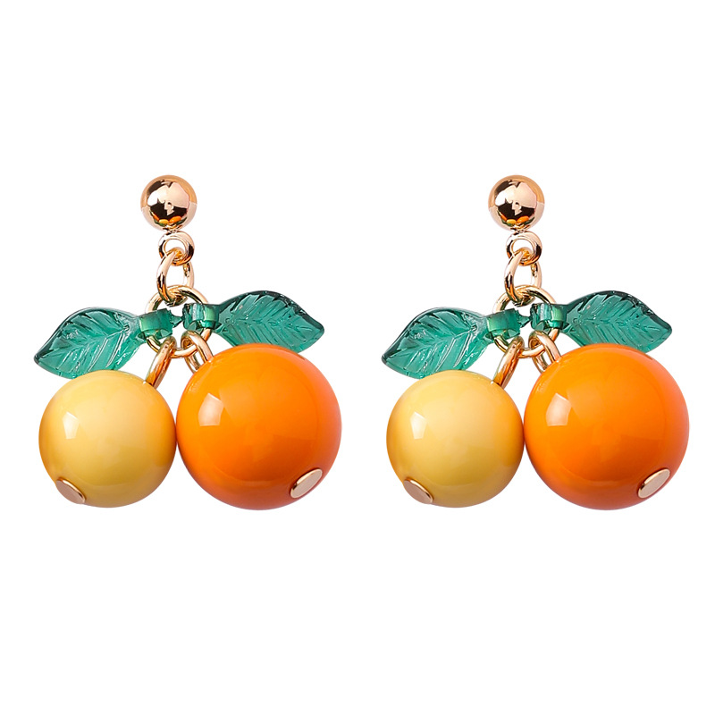 Alloy Korea Geometric earring  (A orange + yellow) NHMS1310-A-orange-yellow