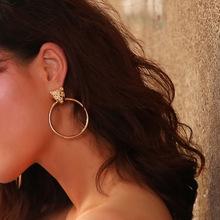 歐美跨境飾品 個性夸張豹子頭幾何耳飾 時尚潮款尖貨合金耳釘 女