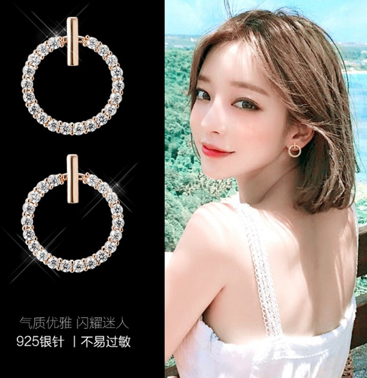 S925 silver needle Korean simple and versatile Earrings anti allergy circle exquisite Mini Earrings female manufacturer