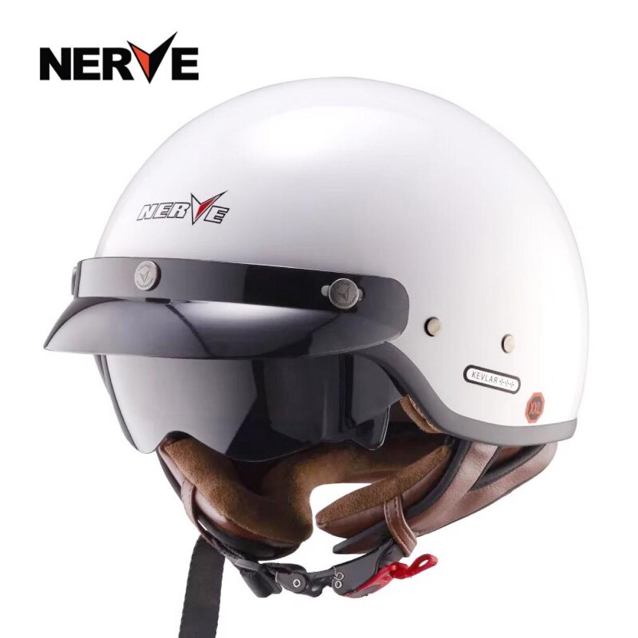 NERVE凯芙拉碳纤维复古半盔覆式时尚夏季个性摩托车头盔男女四季