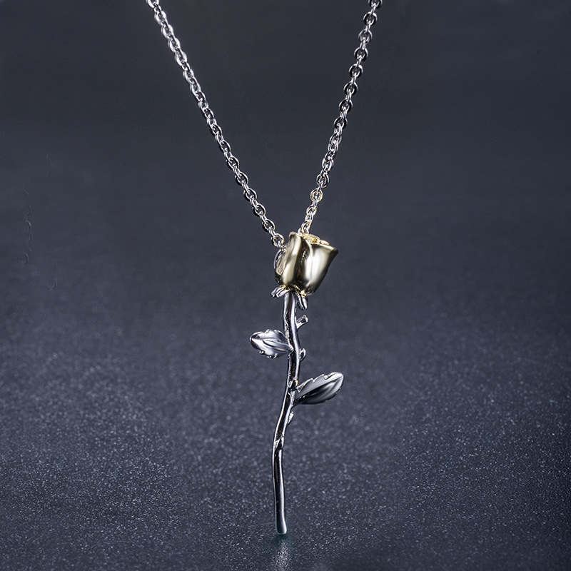Alloy Fashion Geometric necklace(Gold flower silver branch) NHLJ3841-Gold flower silver branch