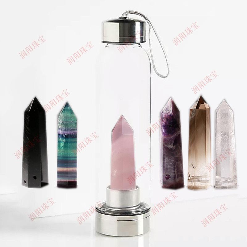 Runyangshi天然六棱水晶柱能量玻璃水杯 魔法棒水疗茶杯订制批发