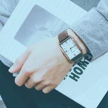 社会精神小伙网红天佑刘大美同款长方形手表男女士真皮带情侣腕表