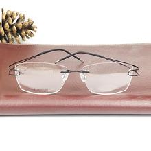 纯钛无框眼镜架男超轻无螺丝个性休闲近视眼镜框女士时尚大脸镜框