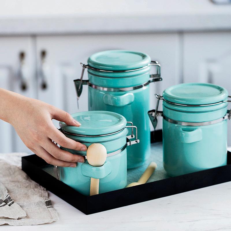 瓷彩美创意陶瓷密封罐子大号带盖储物罐茶叶罐食品五谷杂粮收纳罐