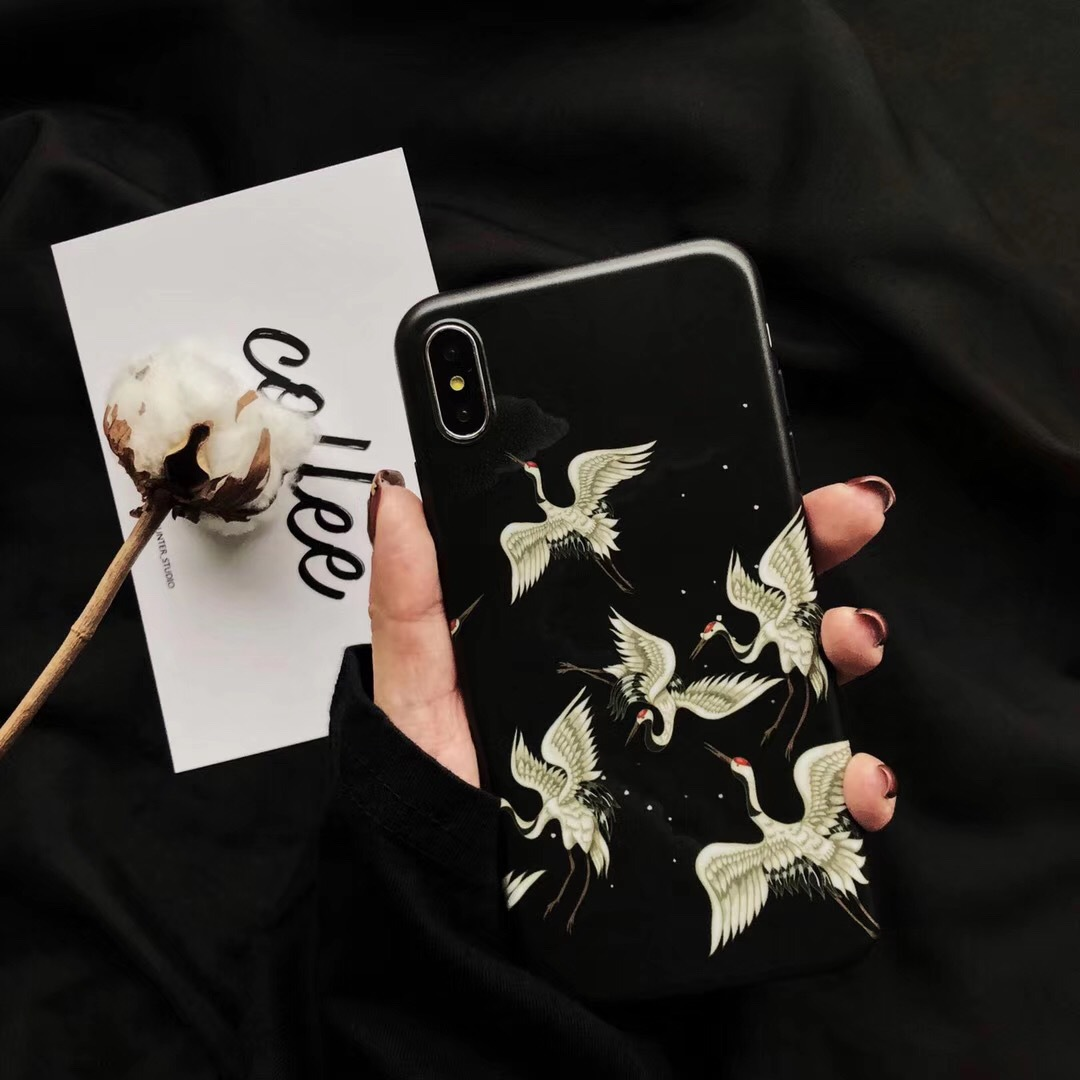 And wind crane Apple Xs Max mobile phone shell for literary soft shell iPhone7/6sp all-inclusive 8 personality men and women