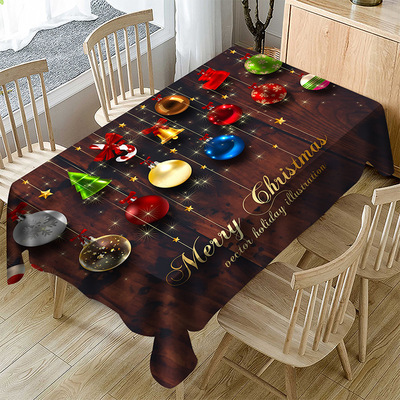Tablecloth table cloth table cover Cartoon polyester fabric Christmas series table D digital printing waterproof table