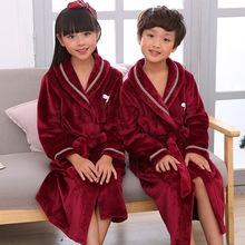 秋冬季儿童睡袍法兰绒加厚加长款男童女童浴袍小孩浴衣酒红色睡衣