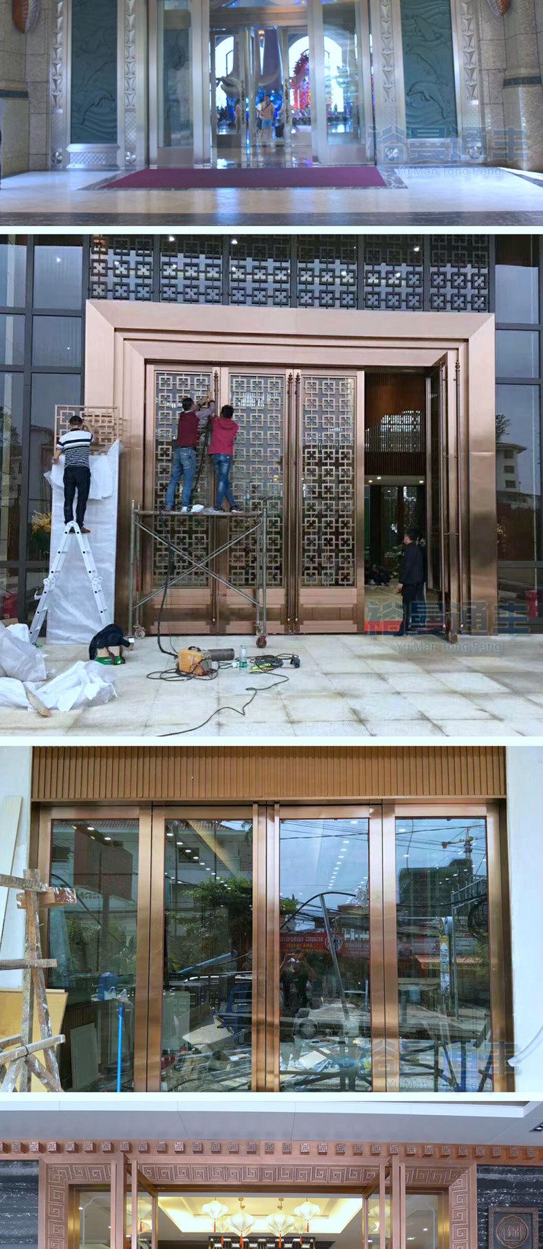 玻璃大门_酒店高档玫瑰金不锈钢钢化住宅小区入户大堂大门 - 阿里巴巴