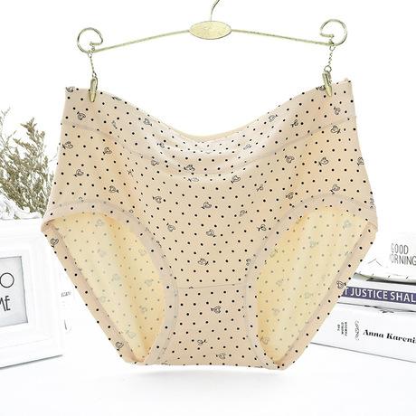 Phiên bản Plus mới In Dot Đồ lót nữ Quần áo rộng eo trung niên dì nữ bằng vải lụa bán buôn