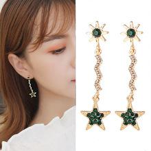 B419韩版绿色五角星耳夹无耳洞耳环长款流苏耳钉太阳耳坠一件代发
