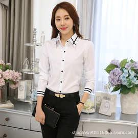 白色襯衫女長袖2019爆款韩版宽松休闲亚马逊大码襯衣女職業裝批发