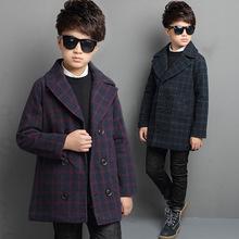 男童毛呢大衣冬装厚外套中大童大翻领格子冬季风衣儿童新款童装