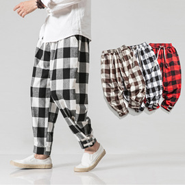 New men's plaid trousers in autumn and winter Chinese style casual pants large men's loose trousers for men's wear