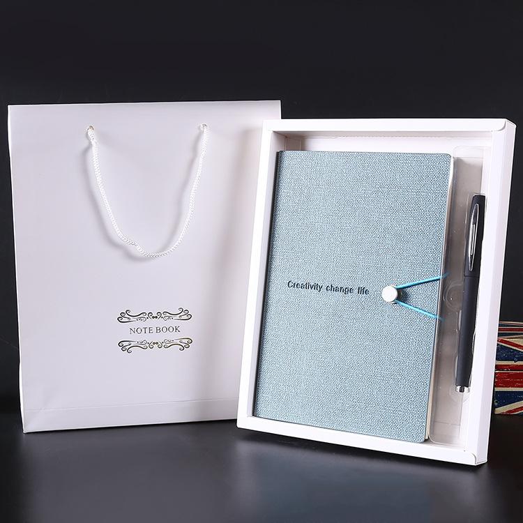 高档记事本礼盒套装pu皮面笔记本带扣学生日记本商务办公本子定制
