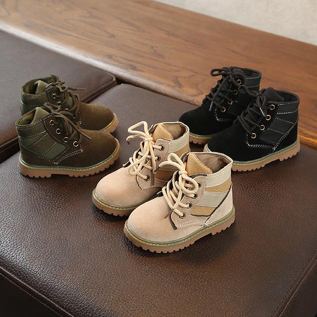 2019 bé trai và bé gái mới độc thân Giày bốt trẻ em ở sa mạc trẻ em Martin ủng bé trai Giày cao cổ