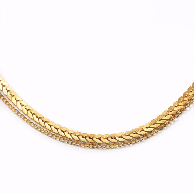 Simple double-layer fish bone neck necklace handmade clavicle chain necklace wholesales yiwu  NHDP203041