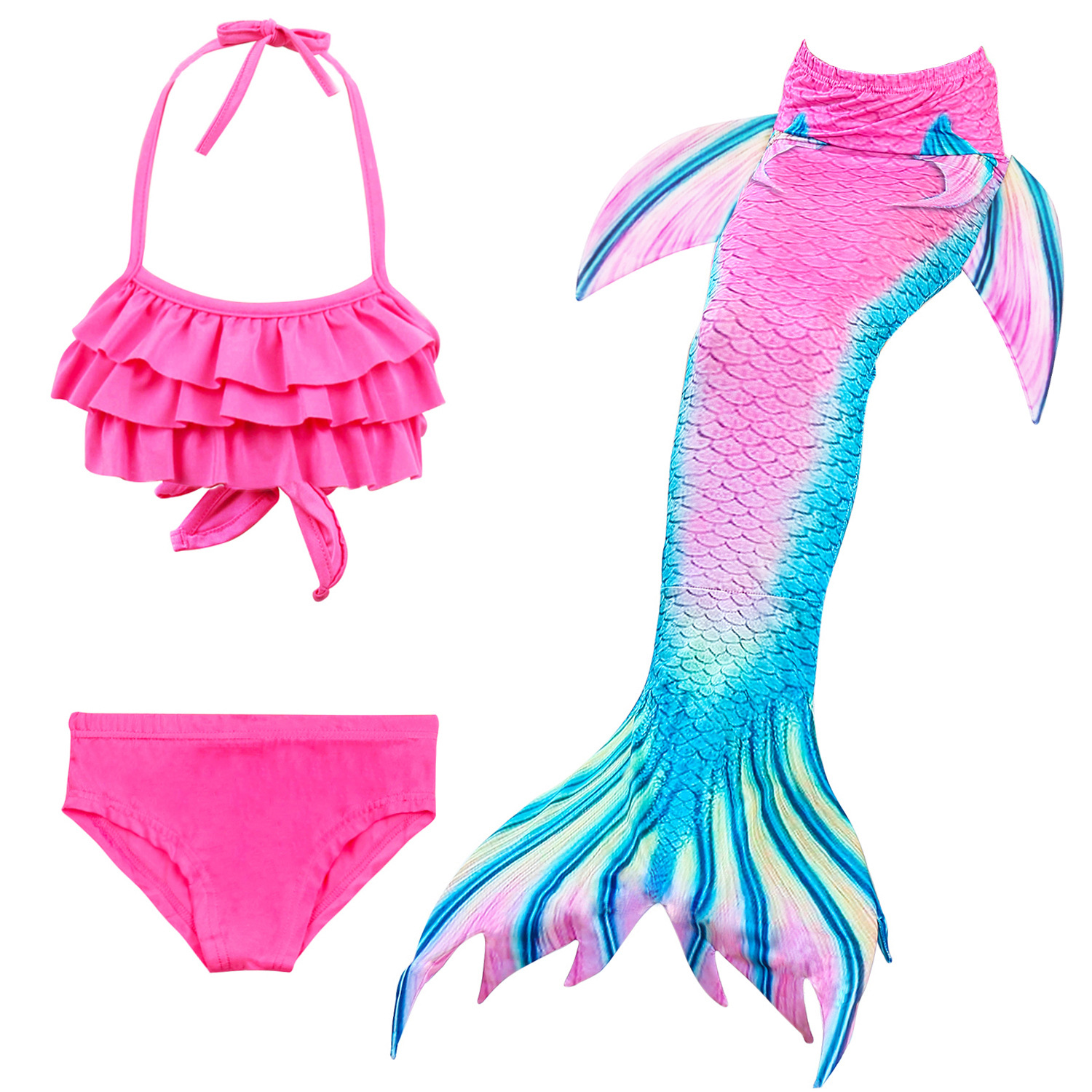 9258201761 898390851 - 4PCS/Set HOT Kids Girls Mermaid Tails with Fin Swimsuit Bikini Bathing Suit Dress for Girls With Flipper Monofin For Swim