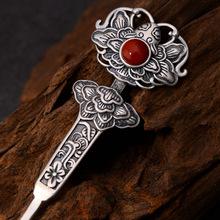 925纯银磨砂饰品精美民族风发饰手工镶嵌人造南红复古发簪