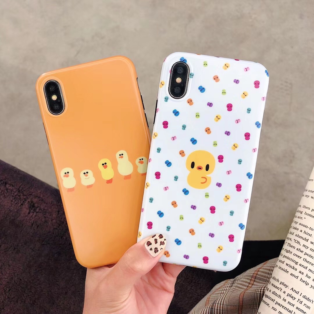 Hot imd small yellow duck for iphoneXR apple protection soft cover iphone7/8plus mobile phone shell spot