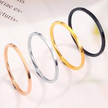 歐美跨境爆款情侶極細光面鈦鋼女戒指 簡約食尾戒指環不銹鋼飾品