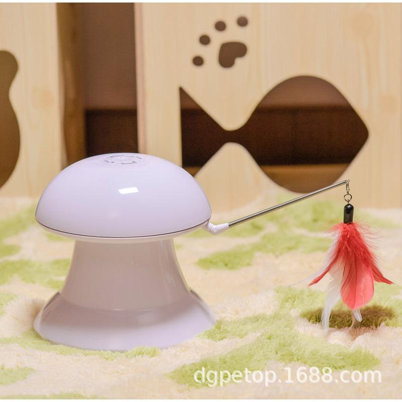 猫玩具 新款激光玩具转盘电动 激光互动玩具带羽毛USB亚马逊爆款