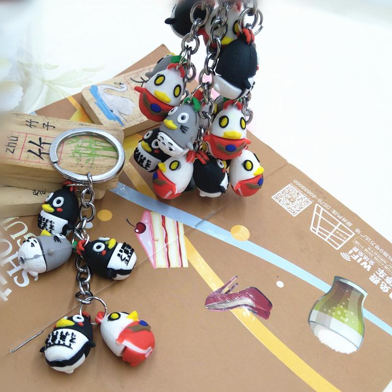 厂家直销 热销创意卡通海洋系列海狮企鹅挂饰软胶钥匙链汽车钥匙
