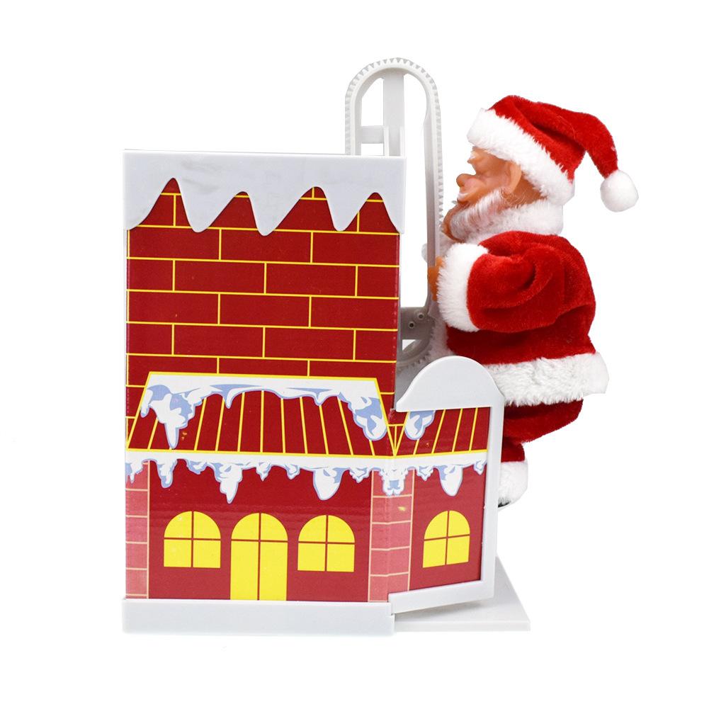 新奇有趣爬墻翻墻爬煙囪圣誕老人玩偶帶音樂電動玩具圣誕節禮品
