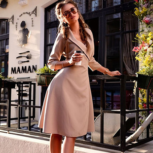 Spot Amazon Europe and the United States new coat lapel solid color sexy lace-up slim three-quarter sleeve jacket dress