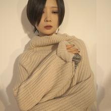 原创设计师女装 秋冬高领女式毛衣针织衫加厚长袖套头打底上衣