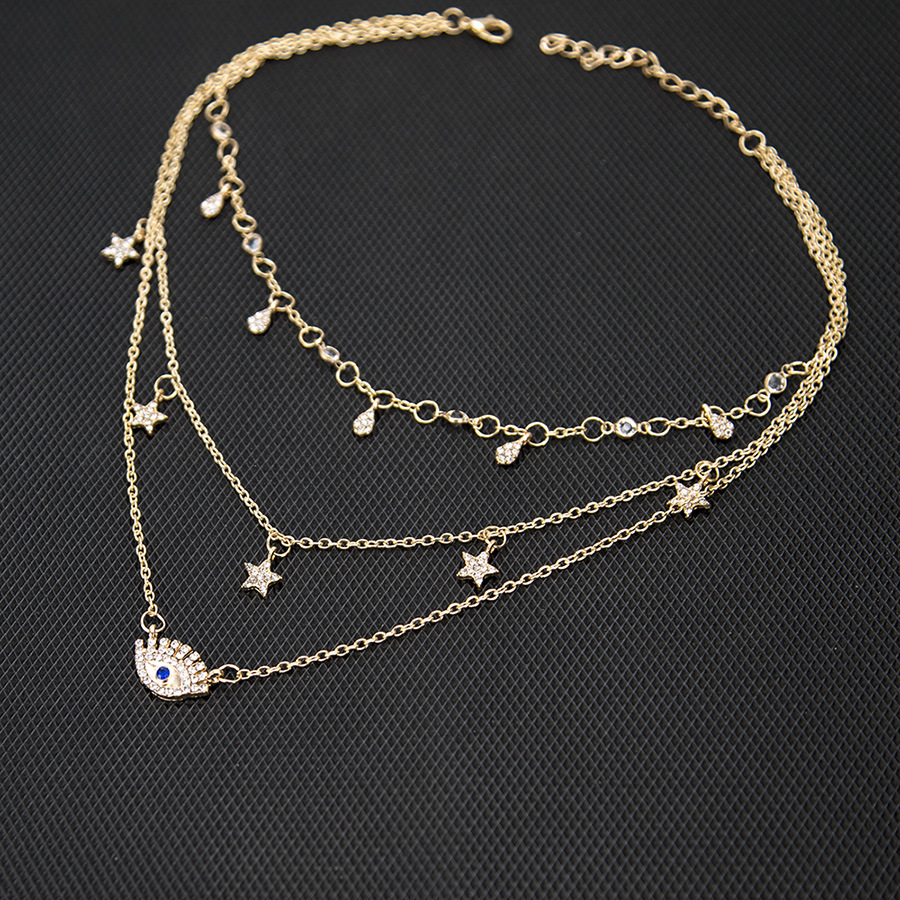 Fashion six-pointed star drop necklace NHPV153610