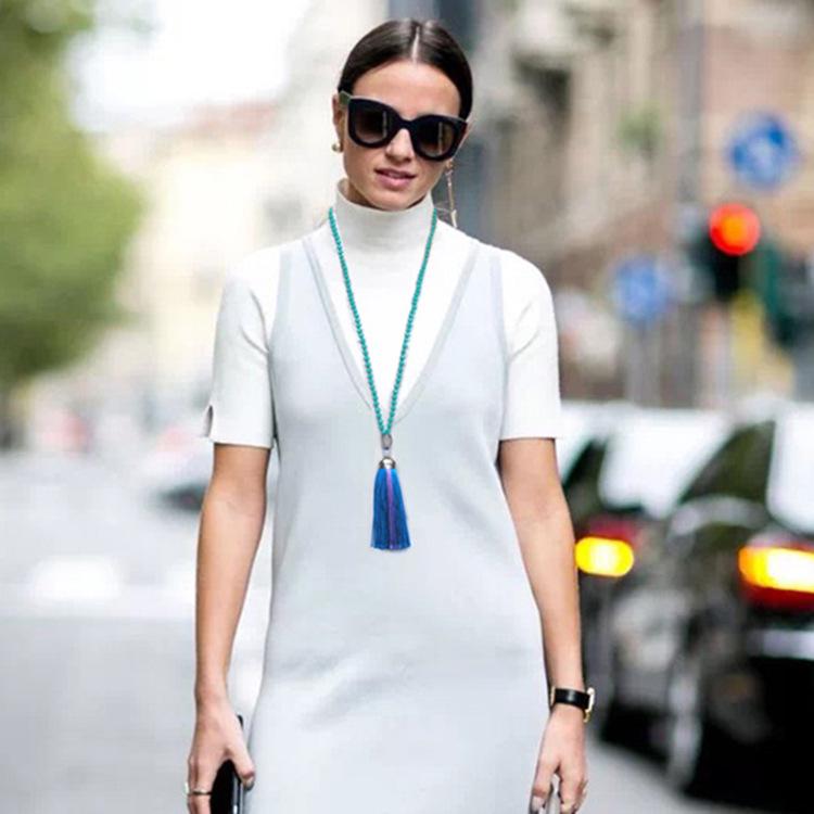 新款欧美毛衣链女百搭玛瑙水晶拼色丝线流苏奢华大气吊坠长款项链
